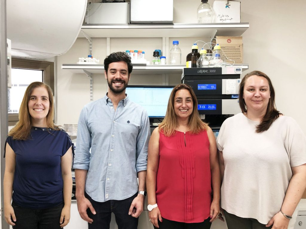 The TAU research team from left to right: Prof. Helena Florindo, Dr João Conniot, Prof. Ronit Satchi-Fainaro, Dr Anna Scomparin. Photo by Galia Tiram