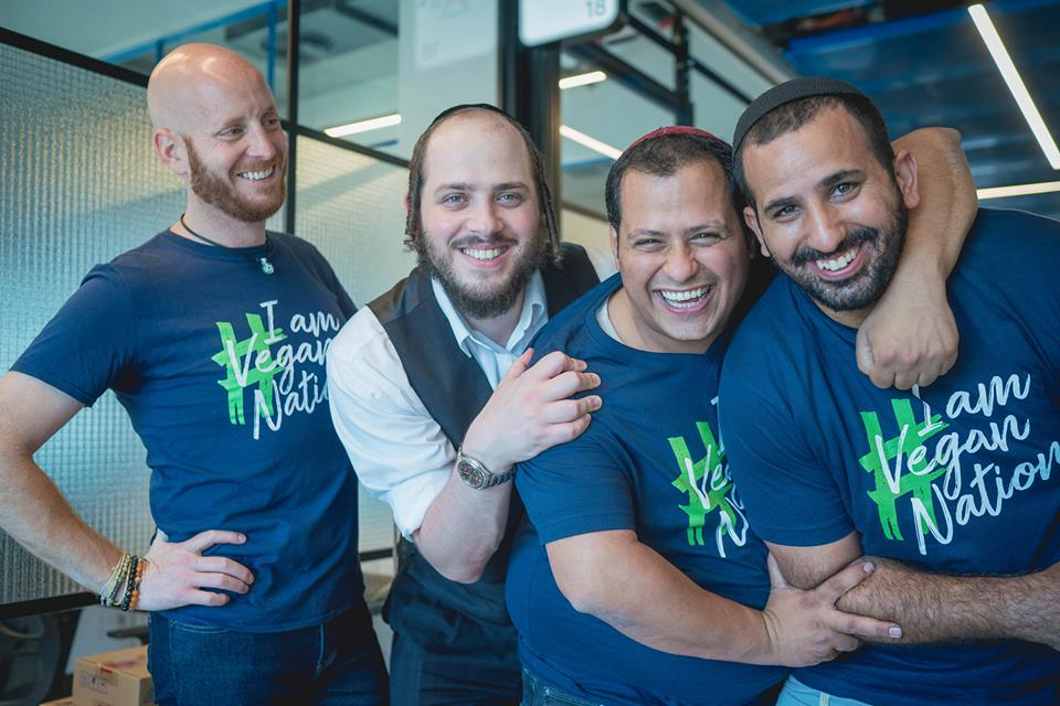 The Vegan Nation co-founders from left to right: Isaac Thomas, Shneor Shapira, Yossi Rayby, and Nati Giat. Courtesy