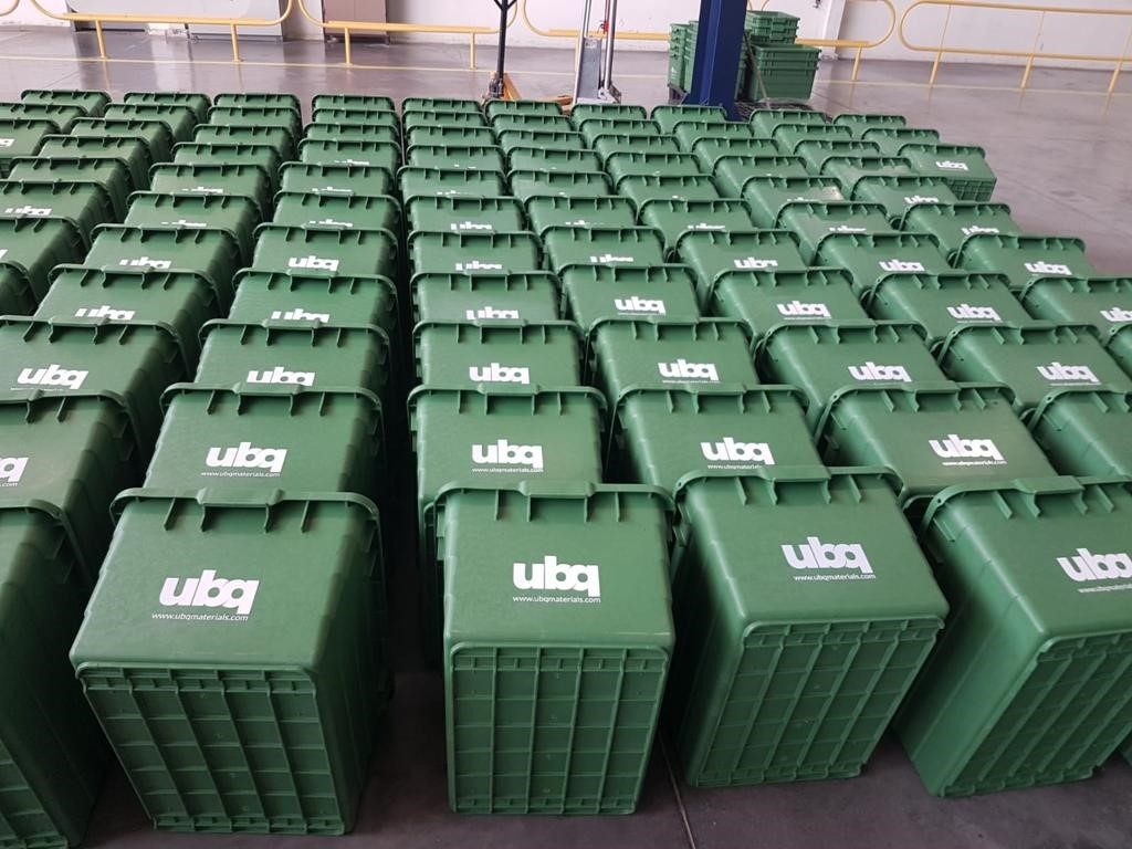 A cluster of bins from UBQ Materials. Courtesy