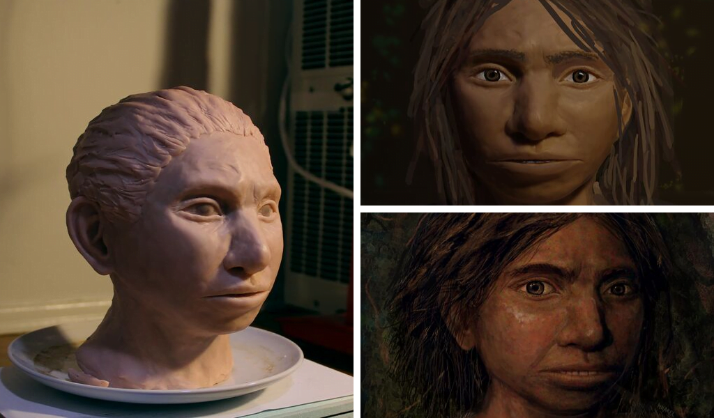 Left: A 3D reconstruction of a Denisovan head; top right and bottom right: portraits of a young female Denisovan. Photos by Maayan Harel