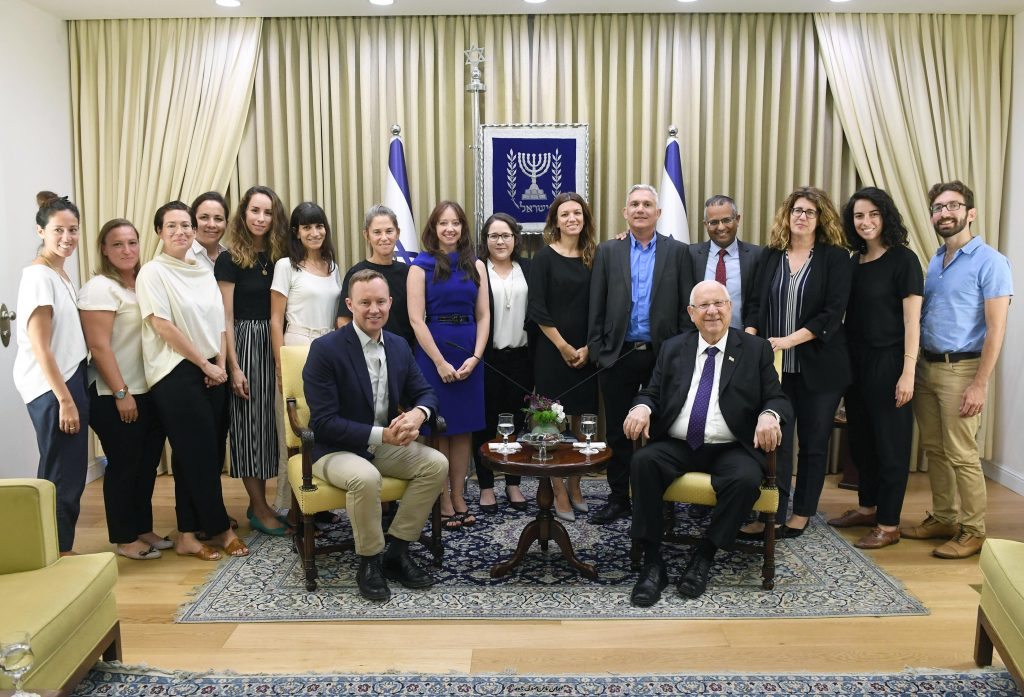 President Rivlin with representatives from the Bloomberg Foundation, the Ministry of Interior, and the Peres Center for Peace and Innovation in Jerusalem, September 3, 2019. Photo by Mark Neiman/GPO