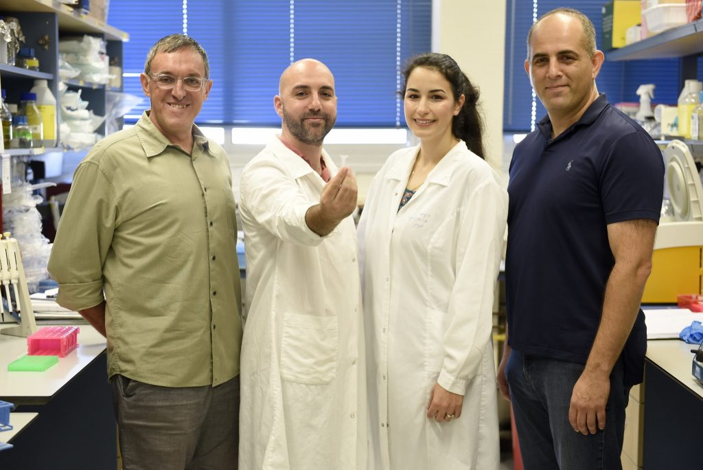 The DNA research group, from left to right: Professor Zohar Yakhini, Leon Anavy, Inbal Vaknin, and Professor Roee Amit. Photo by Rami Shlush, Technion Spokesperson Department