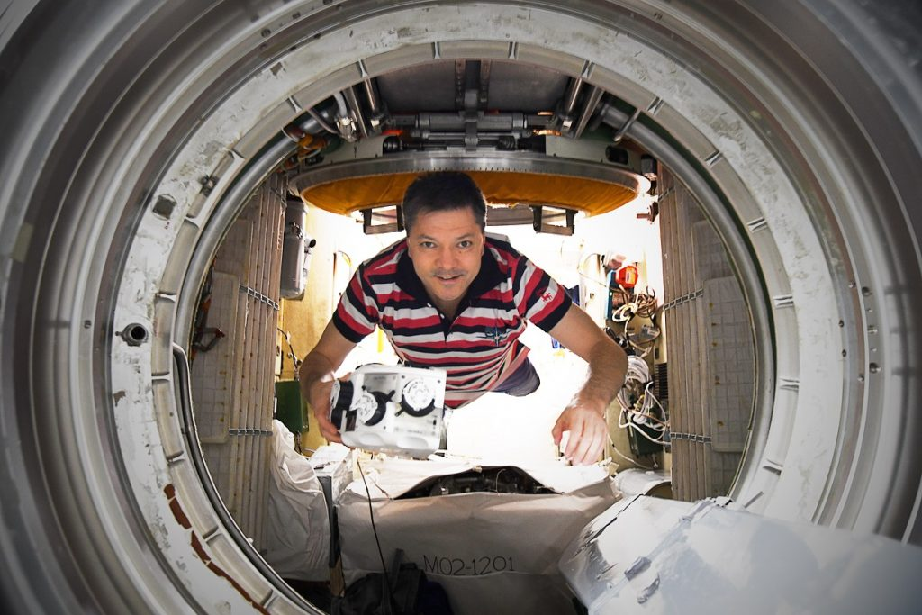 Cosmonaut Oleg Kononenko on board of the International Space Station during the first experiment with 3D bioprinter in December 2018. Photo via 3D Bioprinting Solutions