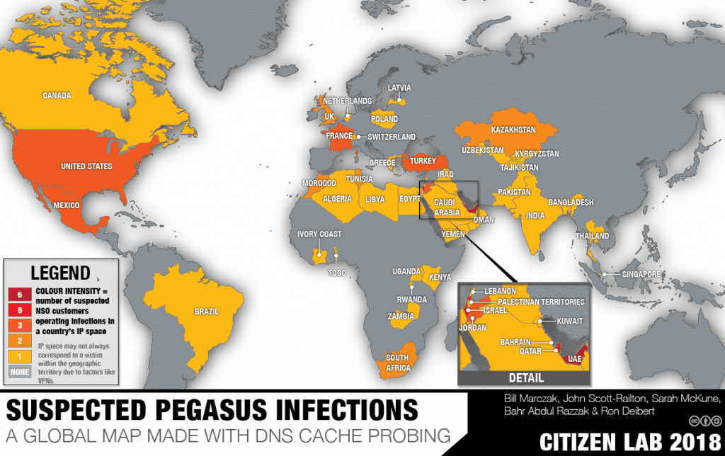 A 2018 map of suspected NSO Pegasus infections released by Citizen Lab.