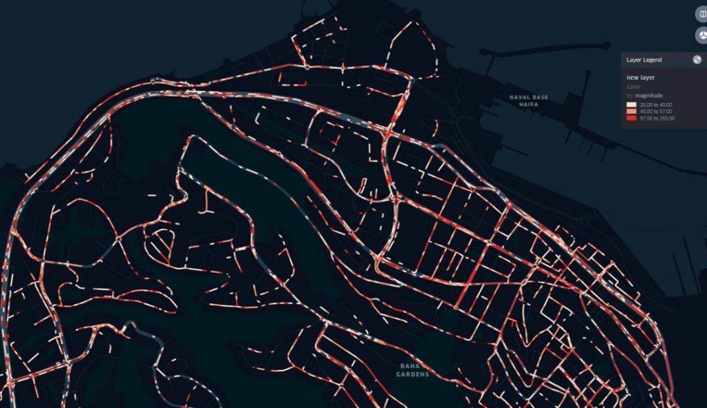 A road map of Haifa. Photo via Tactile Mobility