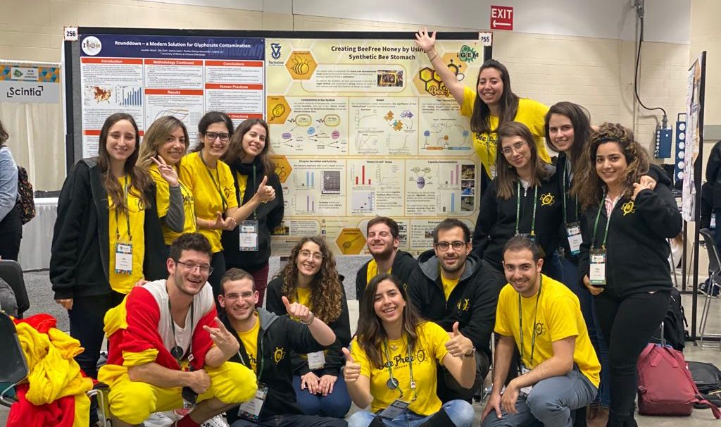 The Technion team at the iGEM competition in Boston earlier this month. Courtesy of the Technion's spokesperson's office.