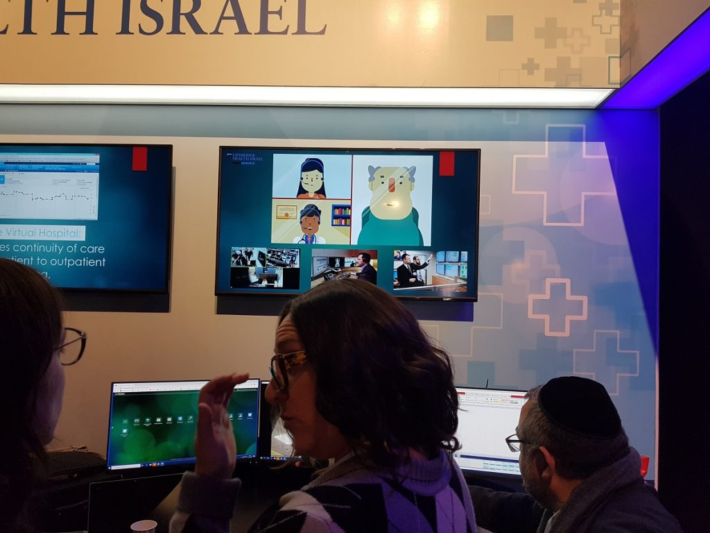 Lifebridge Health Israel's televideo system displayed at the Digital Health Now conference in Tel Aviv, November 27, 2019. Photo: NoCamels Staff