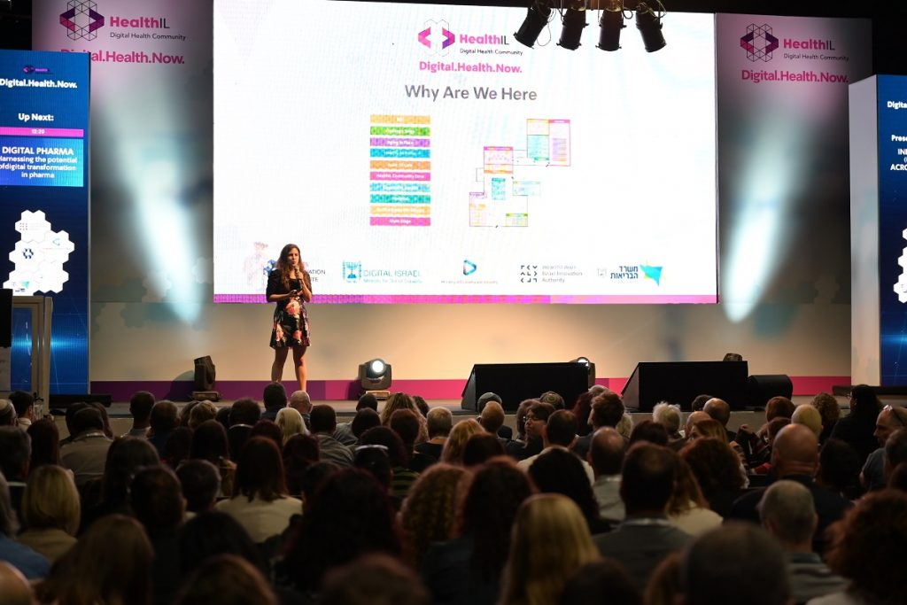 Yael Ophir, executive director of HealthIL speaking to an audience at the Digital Health Now conference in Tel Aviv, November 27, 2019. Courtesy