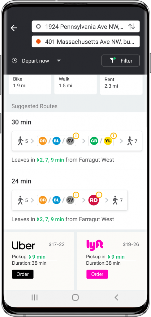 Moovit's app on Android showing Uber and Lyft options. Courtesy
