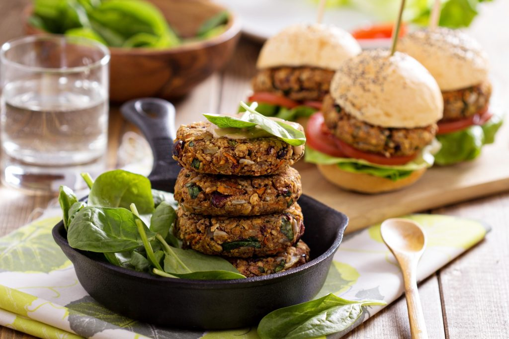 Vegan burgers. Illustrative. Deposit Photos