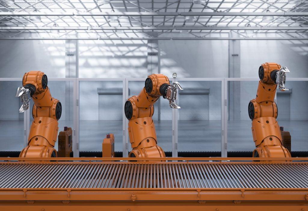Robotic assembly line. Illustrative. Deposit Photos