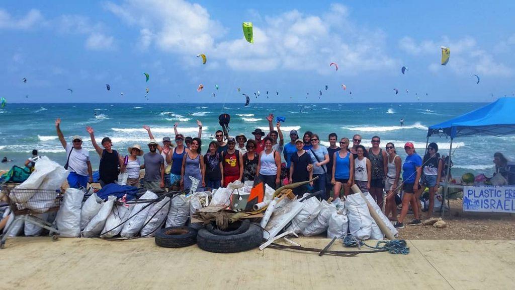Plastic Free Israel beach cleanup. Courtesy