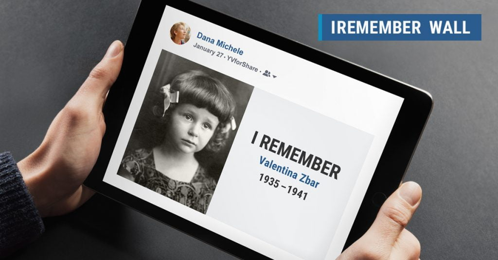 A photo of the IRemember Wall by Yad Vashem and Facebook. Courtesy