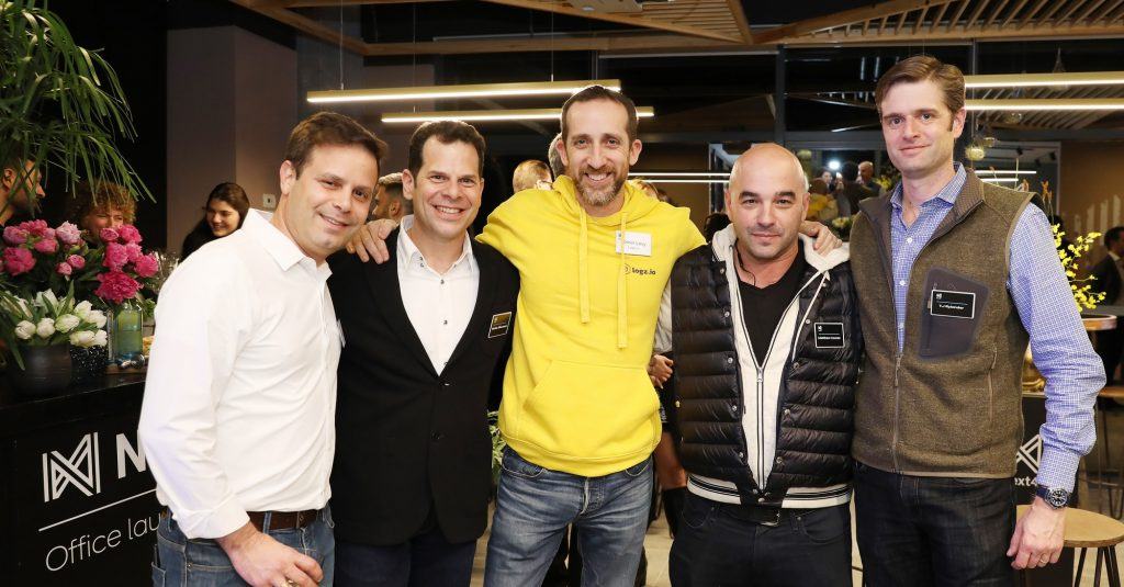 From left to right: Guy Bloch, CEO and co-founder of Bringg, Moshe Zilberstein, lead of Israeli investments for Next47, Tomer Levy, CEO and co-founder Logz-io, Matthew Cowann, Next47 partner, and T.J Rylander, Next47 partner. Photo: Gal Hermoni