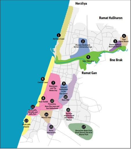 Tel Aviv's tourismMaster Plan defines 17 tourism zones across the city. Screenshot
