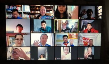 A photo provided by Yaacov Hecht showing a group of Israeli and Chinese pupils on Zoom for a learning initiative. Courtesy