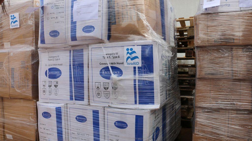 An IsraAID shipment to China in February 2020 as part of novel coronavirus response. Photo: IsraAID
