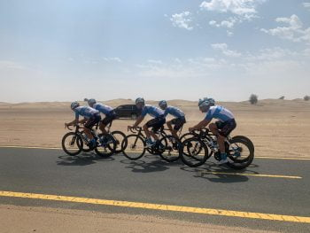 The Israel Start-Up Nation cycling team in the UAE Tour, February 2020. Courtesy