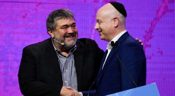 OurCrowd founder and CEO Jon Medved and former US special envoy Jason Greenblatt at the OurCrowd Global Investor Summit in Jerusalem on February 13, 2020. Courtesy