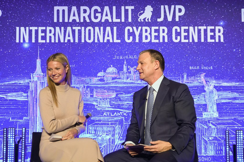 Actress and entrepreneur Gwyneth Paltrow with Dr. Erel Margalit at the opening of the International Cyber Center in New York City on February 3, 2020. Photo: Shahar Azran
