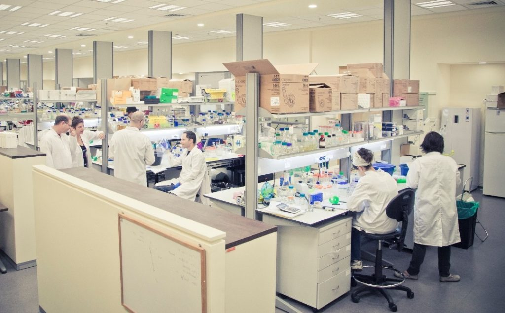 The Migal Research Institute's lab where scientists are working on developing a coronavirus vaccine. March 2020. Photo: Lior Jorno