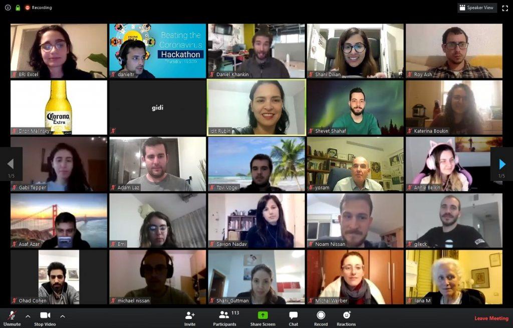 Participants in hackathon