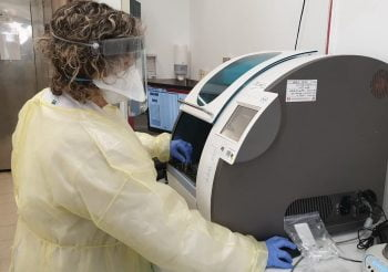 Coronavirus testing at a lab at the Hillel Yaffe Medical Center in Hadera. Illustrative. March 2020. Photo: Health Ministry via Telegram