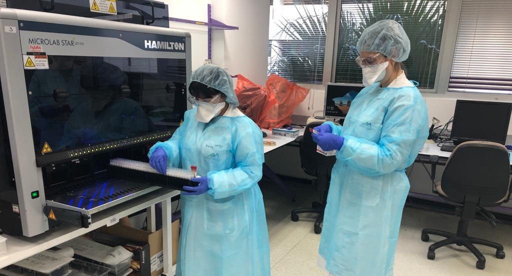 Coronavirus testing at a lab operated by Israeli HMO Clalit in Ramat Hahayal. Illustrative. March 2020. Photo: Health Ministry via Telegram