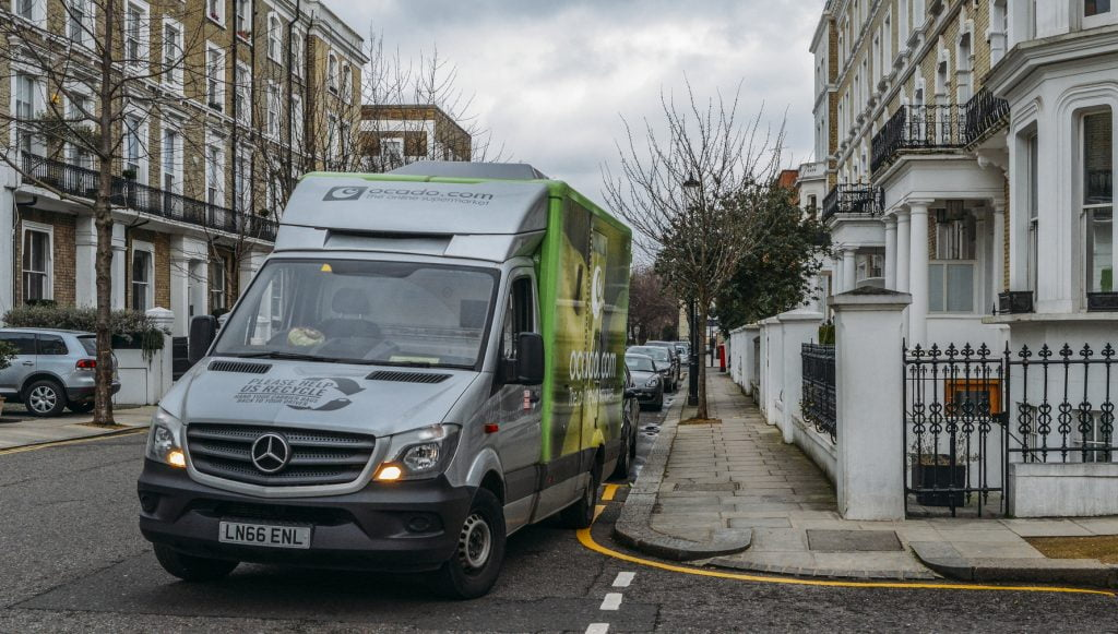 Illustrative photo of a grocery delivery service in London. Deposit Photos