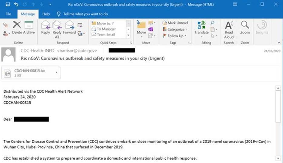 A phishing email related to coronavirus information. Screenshot via Cybereason