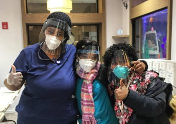 In NYC, Tikkun Olam Makers partnered with local makerspace Skill Mill NYC to manufacture and deliver hundreds of face shields to nursing homes, rehab centers, fertility clinics and hospitals around the city. In the picture - Nurses from the New Jewish Home (Senior Citizen home) in Manhattan with Face Shields supplied by TOM:NYC.