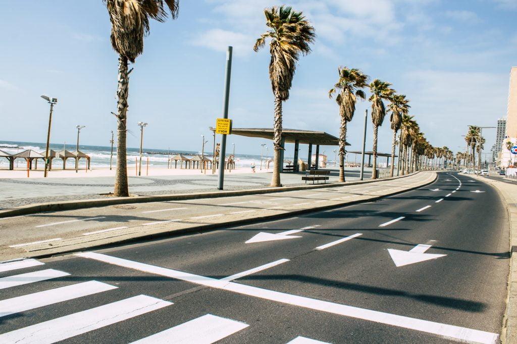 The Tel Aviv promenade remains empty amid Israel's coronavirus restrictions. April 2020. Deposit Photos