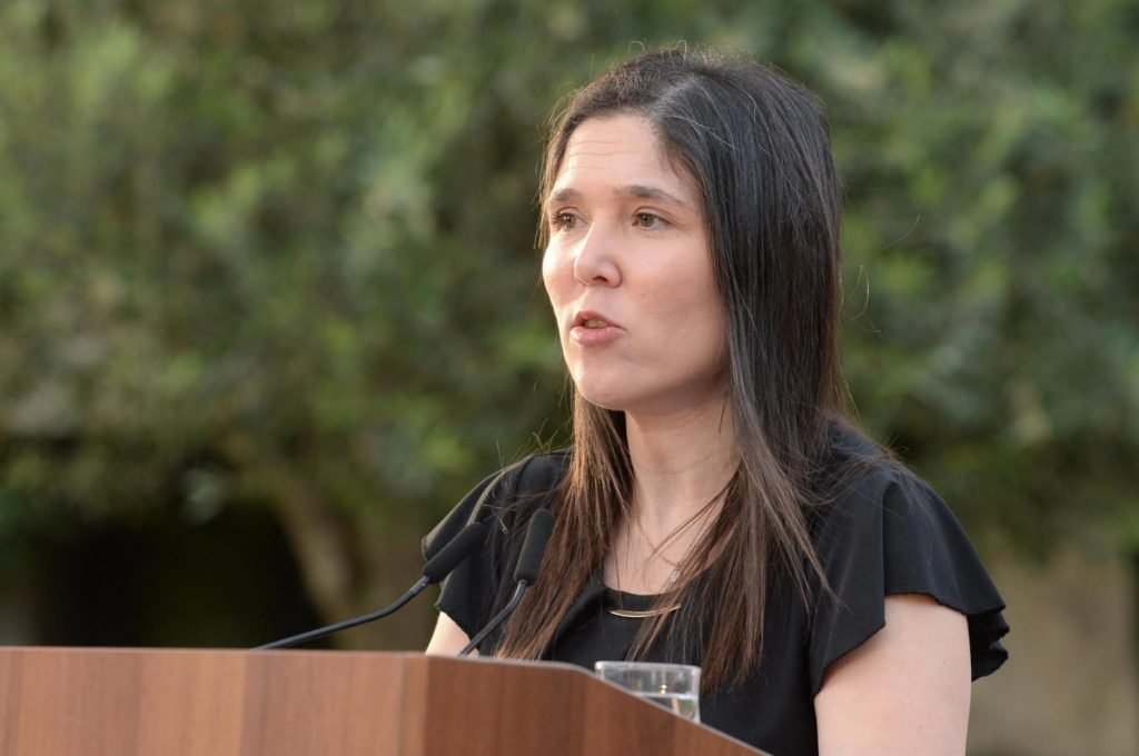 Lily Ben Ami, sister of the late domestic violence victim Michal Sela, speaks at the hackathon event battling domestic violence at the President's Residence in Jerusalem on May 20, 2020. Photo: Mark Neyman/GPO