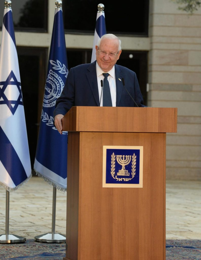 Israeli President Reuven Rivlin speaks on May 20, 2020 at the Safe@Home hackathon battling domestic violence in memory of Michal Sela. Photo: Mark Neyman/GPO