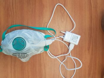 A self-disinfecting mask prototype developed by scientists atthe Technion. Courtesy
