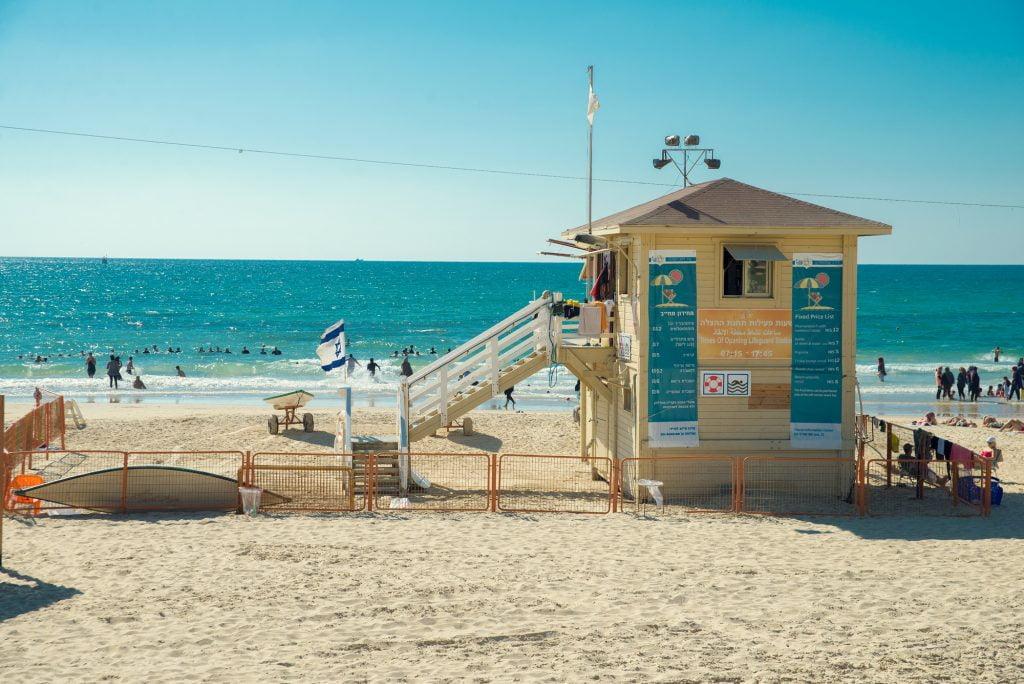 A lifeguard tower in Tel Aviv. Deposit Photos