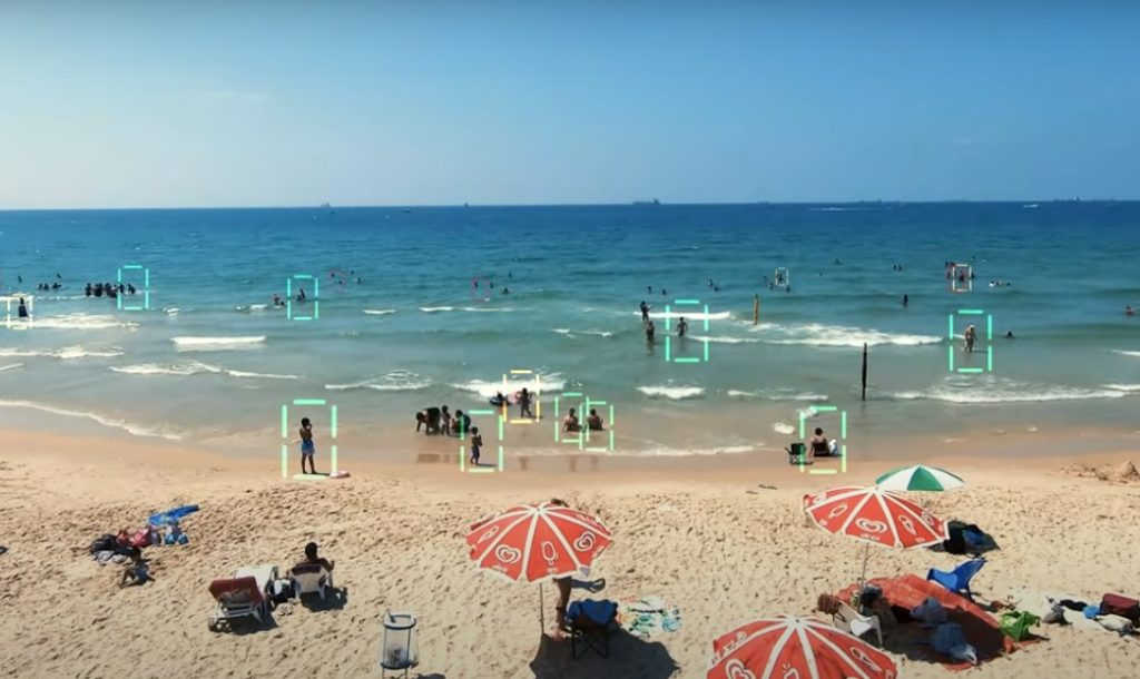The system developed by Sightbit tracks swimmers and beachgoers. Screenshot