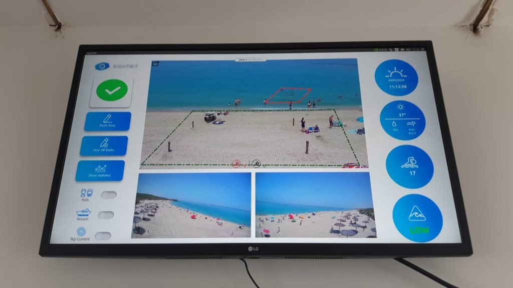 Lifeguards using the Sightbit monitoring system. Courtesy