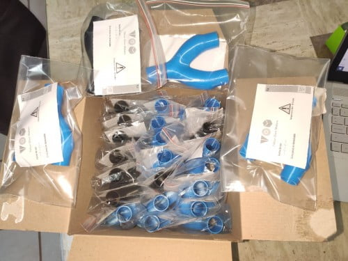 Ventilator splitters manufactured by the TOM:Mexico community. The splitters allow for the ventilation of two patients with one machine. TOM:Mexico has delivered more than 3,000 units to hospitals all across Mexico. Courtesy