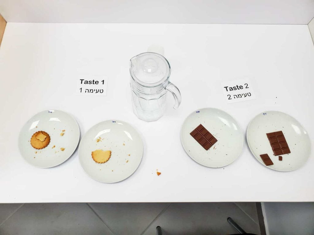 Taste test with DouxMatok's sugar reduction solution. Photo: Liz Vaknin